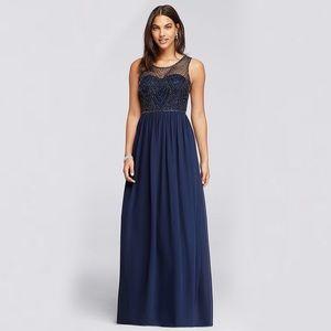 Long Blue Beaded Dress